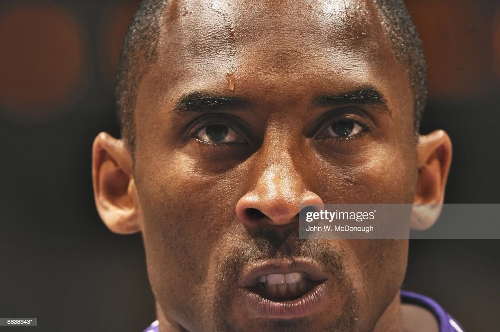 Closeup of Los Angeles Lakers <a gi-track='captionPersonalityLinkClicked' href=/galleries/search?phrase=Kobe+Bryant&family=editorial&specificpeople=201466 ng-click='$event.stopPropagation()'>Kobe Bryant</a> (24) on court before Game 2 vs Orlando Magic. Los Angeles, CA 6/7/2009