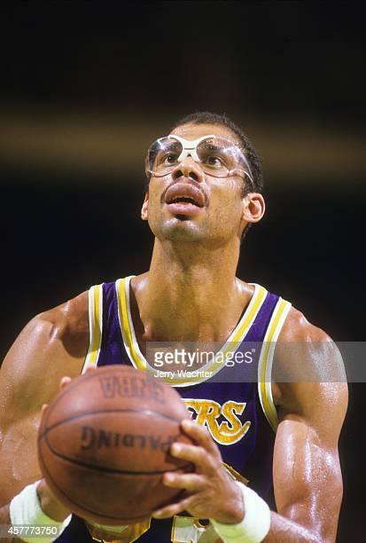 NBA Finals Closeup of Los Angeles Lakers Lakers Kareem AbdulJabbar in action taking foul shot vs Boston Celtics at Boston Garden Game 5 Boston MA...
