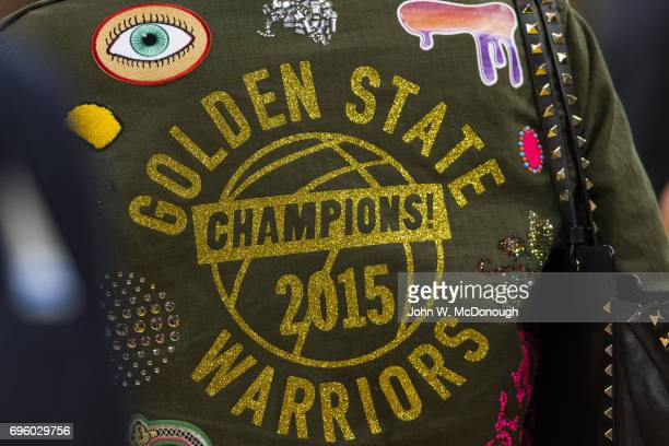NBA Finals Closeup rear view of jacket worn by Golden State Warriors fan before game vs Cleveland Cavaliers at Oracle Arena Game 2 Oakland CA CREDIT...