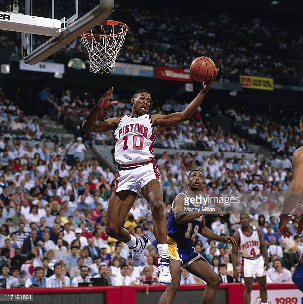 NBA Finals Detroit Pistons Dennis Rodman in action rebounding vs Los Angeles Lakers at The Palace Game 1 Auburn Hills MI CREDIT Manny Millan