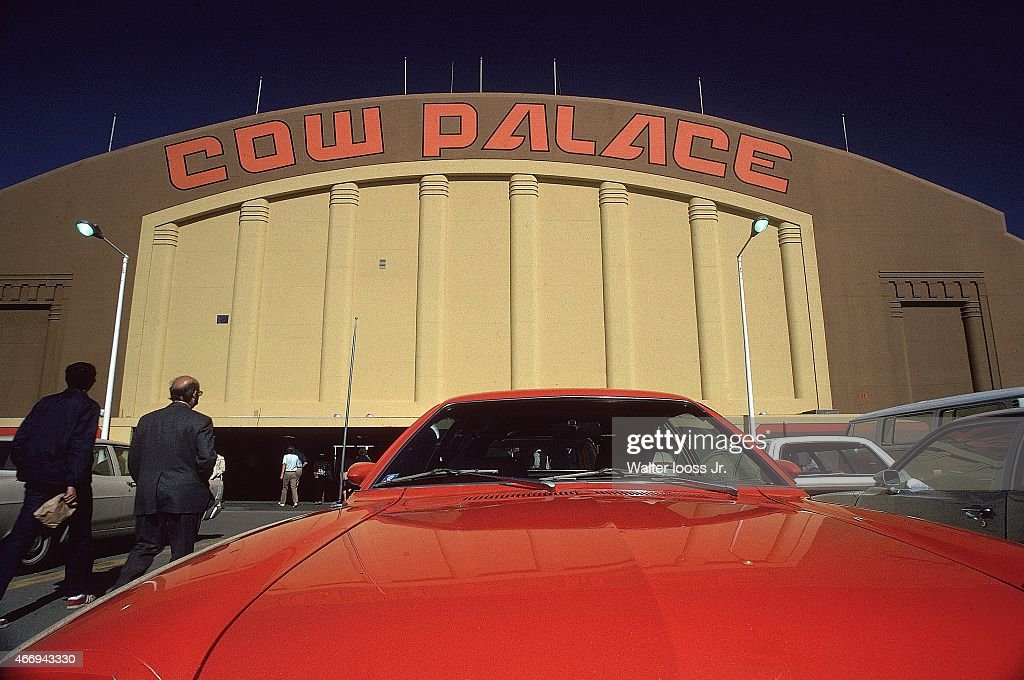 NBA Finals Exterior view of arena and signage from parking lot before Golden State Warriors vs Washington Bullets game at Cow Palace San Francisco CA...