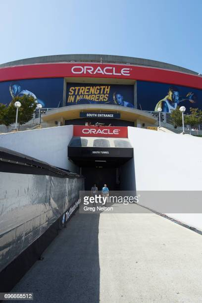 NBA Finals Exterior view of Oracle Arena south entrance and south tunnel before Golden State Warriors vs Cleveland Cavaliers game Game 5 Oakland CA...