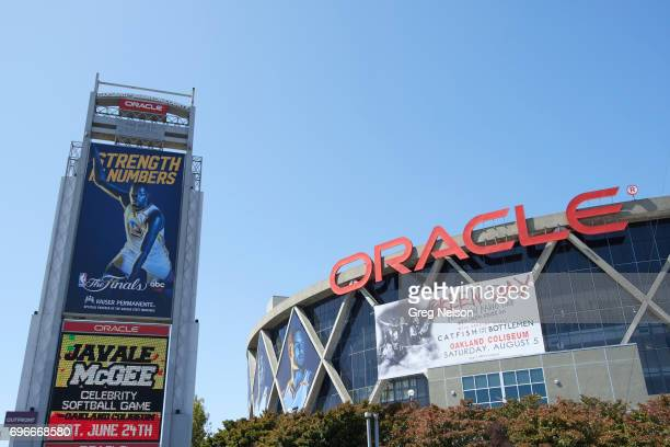NBA Finals Exterior view of Oracle Arena with banner of Golden State Warriors Kevin Durant that reads STRENGTH IN NUMBERS before game vs Cleveland...