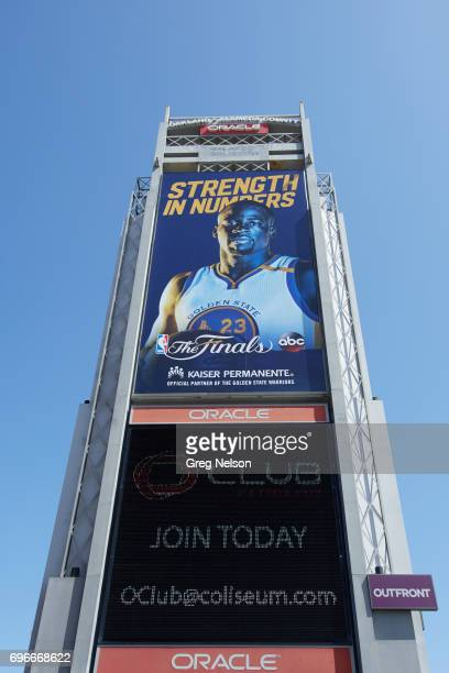 NBA Finals Exterior view of Oracle Arena with banner of Golden State Warriors Draymond Green that reads STRENGTH IN NUMBERS before game vs Cleveland...