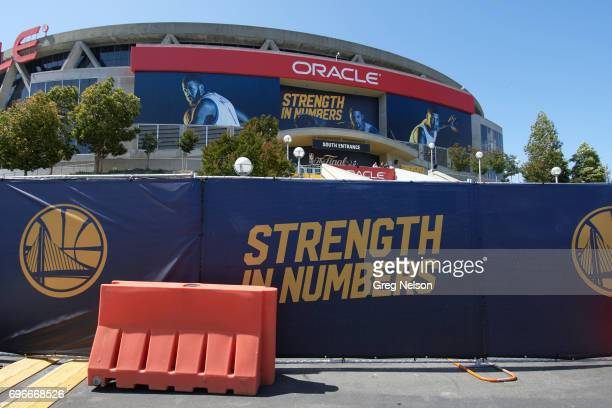 NBA Finals Exterior view of Oracle Arena with banners that read STRENGTH IN NUMBERS before Golden State Warriors vs Cleveland Cavaliers game Game 5...
