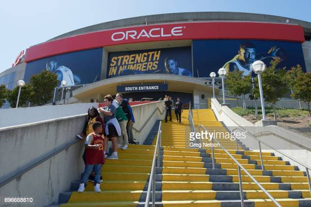 NBA Finals Exterior view of Oracle Arena with staircase leading to south entrance before Golden State Warriors vs Cleveland Cavaliers game Game 5...