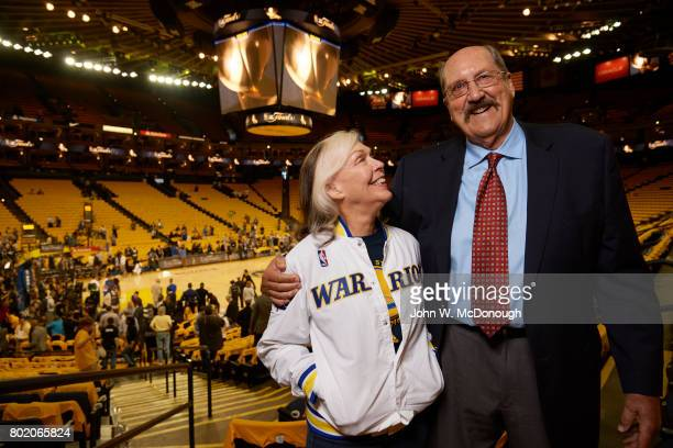 NBA Finals Former Golden State Warriors player Tom Meschery with wife Melanie in stands before game vs Cleveland Cavaliers at Oracle Arena Game 1...