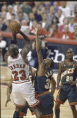 NBA Finals Game 6 Rear view of Chicago Bulls Michael Jordan in action shooting vs Seattle SuperSonics Hersey Hawkins