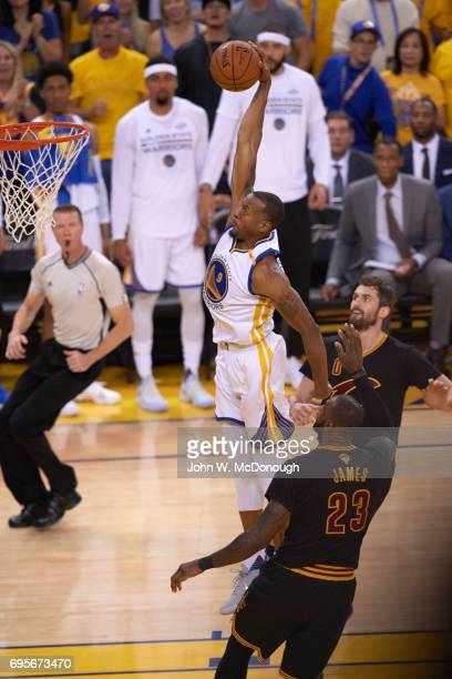 NBA Finals Golden State Warriors Andre Iguodala in action dunking vs Cleveland Cavaliers at Oracle Arena Game 5 Oakland CA CREDIT John W McDonough
