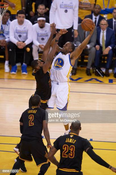 NBA Finals Golden State Warriors Andre Iguodala in action vs Cleveland Cavaliers Tristan Thompson at Oracle Arena Game 5 Oakland CA CREDIT John W...