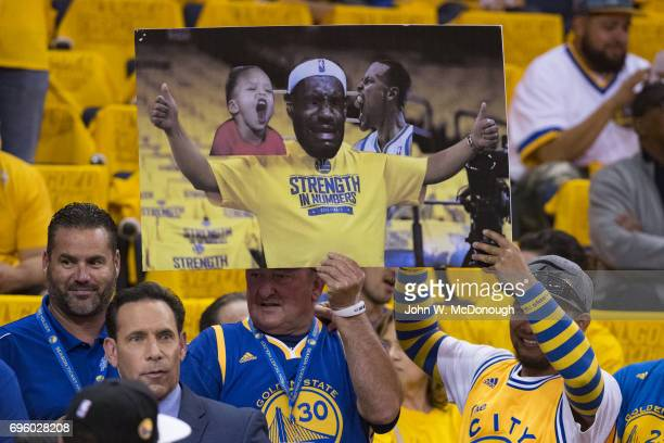 NBA Finals Golden State Warriors fan with anti LeBron James sign before game vs Cleveland Cavaliers at Oracle Arena Game 2 Goofy Oakland CA CREDIT...