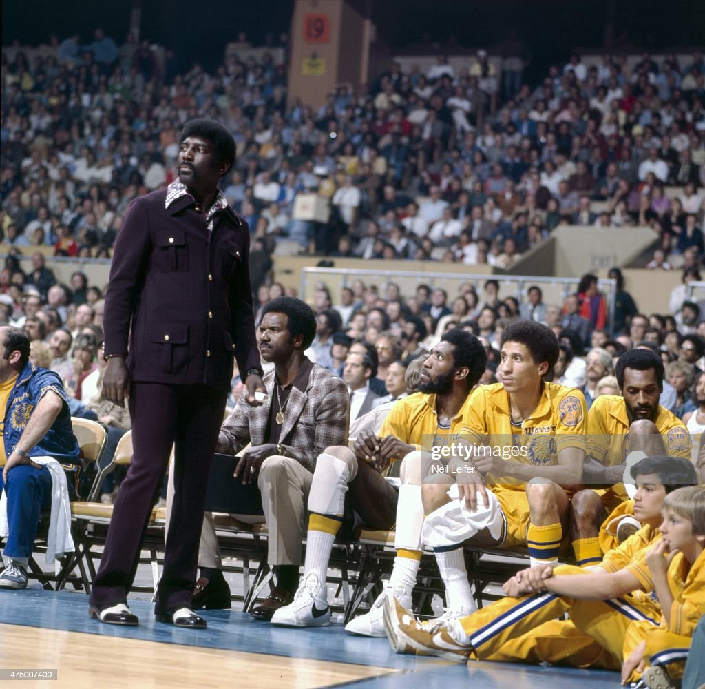 NBA Finals Golden State Warriors head coach Al Attles on sidelines during Game 3 vs Washington Bullets at Cow Palace View of Phil Smith and Clifford...