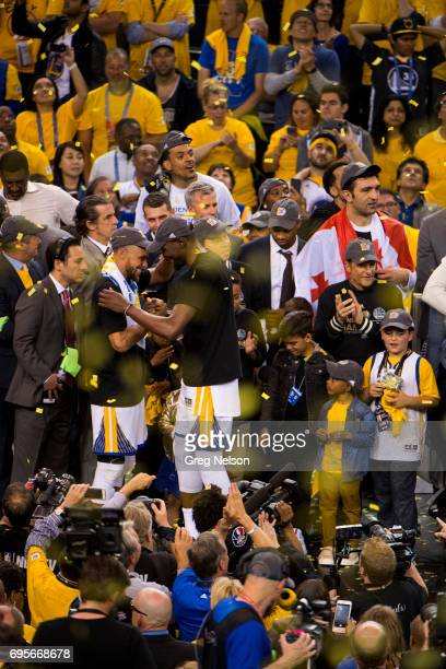 NBA Finals Golden State Warriors Kevin Durant and Stephen Curry victorious after winning series vs Cleveland Cavaliers at Oracle Arena Game 5 Oakland...