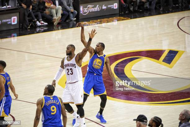 NBA Finals Golden State Warriors Kevin Durant in action vs Cleveland Cavaliers LeBron James at Quicken Loans Arena Game 3 Cleveland OH CREDIT Greg...