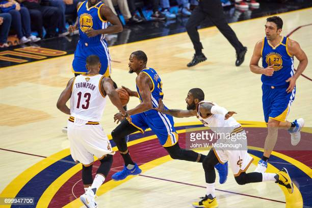 NBA Finals Golden State Warriors Kevin Durant in action vs Cleveland Cavaliers at Quicken Loans Arena Game 3 Cleveland OH CREDIT John W McDonough