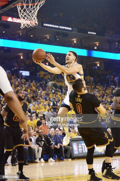 NBA Finals Golden State Warriors Klay Thompson in action layup vs Cleveland Cavaliers at Oracle Arena Game 2 Oakland CA CREDIT John W McDonough