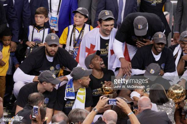 NBA Finals Golden State Warriors Klay Thompson Stephen Curry Kevin Durant and Draymond Green victorious after winning game and series vs Cleveland...