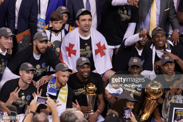 NBA Finals Golden State Warriors Klay Thompson Stephen Curry Kevin Durant Draymond Green and Andre Iguodala victorious after winning game and series...