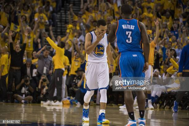 NBA Finals Golden State Warriors Stephen Curry upset on court during Game 5 vs Oklahoma City Thunder at Oracle Arena Oakland CA CREDIT John W...