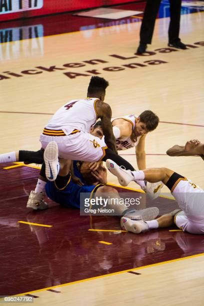 NBA Finals Golden State Warriors Zaza Pachulia in action vs Cleveland Cavaliers Iman Shumpert and Kyle Korver at Quicken Loans Arena Game 4 Pachulia...