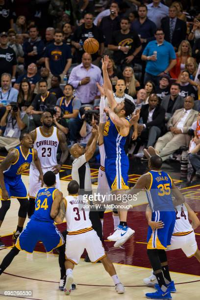 NBA Finals Golden State Warriors Zaza Pachulia in action vs Cleveland Cavaliers Kyle Korver at Quicken Loans Arena Game 4 Cleveland OH CREDIT John W...