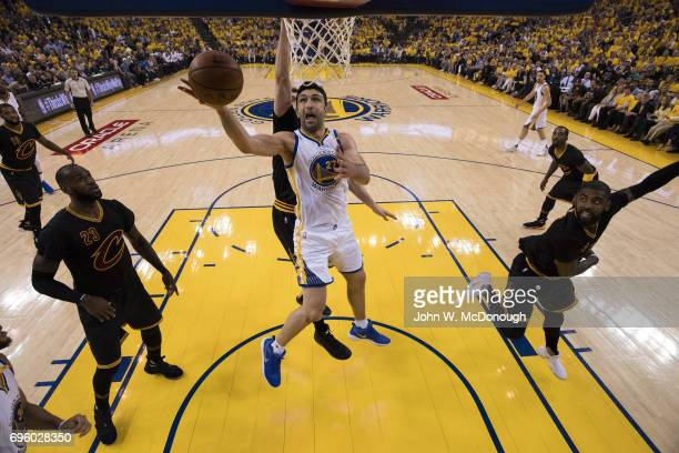 NBA Finals Golden State Warriors Zaza Pachulia in action vs Cleveland Cavaliers at Oracle Arena Game 2 Oakland CA CREDIT John W McDonough
