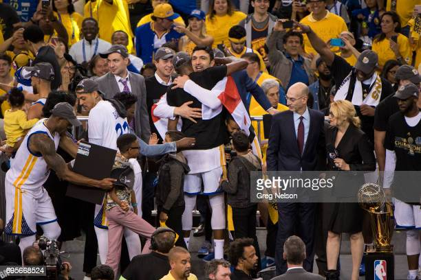 NBA Finals Golden State Warriors Zaza Pachulia victorious after winning series vs Cleveland Cavaliers at Oracle Arena Game 5 Oakland CA CREDIT Greg...