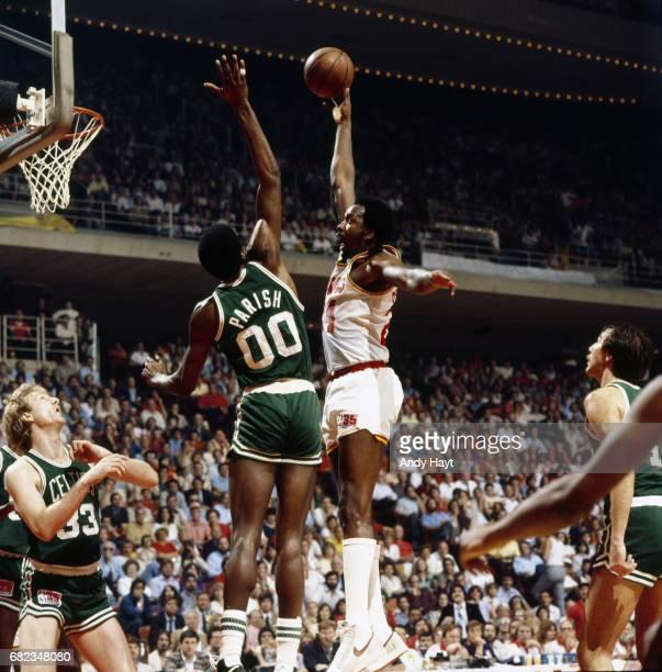 NBA Finals Houston Rockets Moses Malone in action vs Boston Celtics Robert Parish at The Summit Game 6 Houston TX CREDIT Andy Hayt