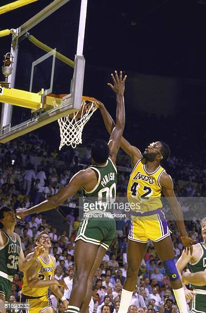 Basketball NBA finals Los Angeles Lakers James Worthy in action making dunk vs Boston Celtics Robert Parish Los Angeles CA 6/7/1985