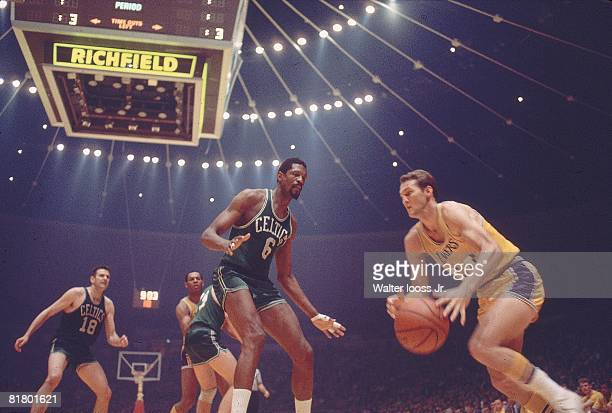 Basketball NBA finals Los Angeles Lakers Jerry West in action vs Boston Celtics Bill Russell Inglewood CA 5/5/1968