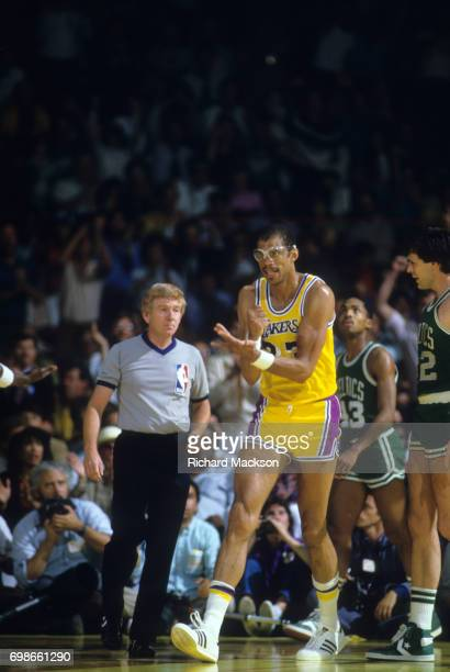 NBA Finals Los Angeles Lakers Kareem Abdul Jabbar victorious during game vs Boston Celtics at The Forum Inglewood CA CREDIT Richard Mackson