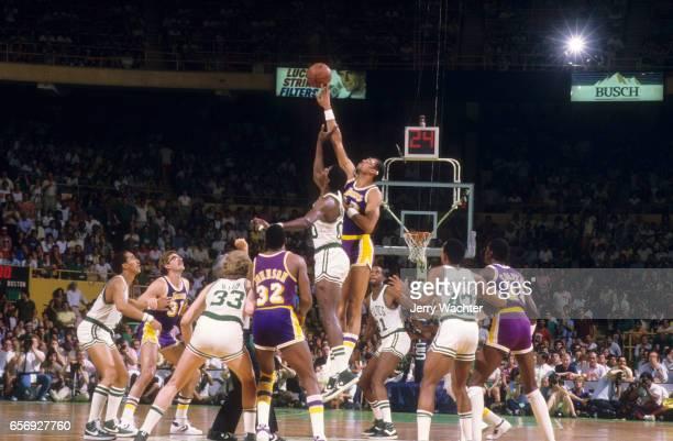 NBA Finals Los Angeles Lakers Kareem AbdulJabbar in action tipoff vs Boston Celtics Robert Parish at Boston Garden Game 5 Boston MA CREDIT Jerry...