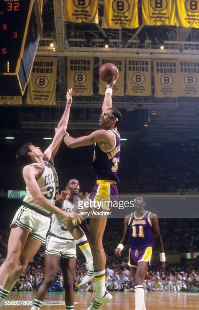 NBA Finals Los Angeles Lakers Kareem AbdulJabbar in action shooting hook shot vs Boston Celtics Kevin McHale at Boston Garden Game 5 Boston MA CREDIT...