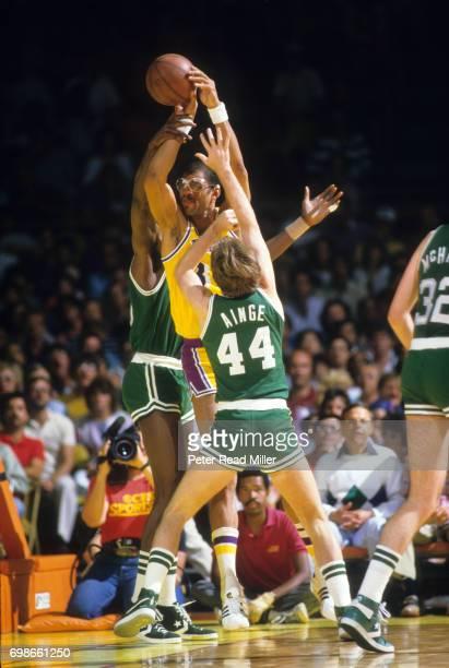 NBA Finals Los Angeles Lakers Kareem AbdulJabbar in action vs Boston Celtics Danny Ainge at the Forum Inglewood CA CREDIT Peter Read Miller