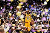 NBA Finals Los Angeles Lakers Kobe Bryant victorious after winning championship vs Boston Celtics Game 7 Los Angeles CA 6/17/2010 CREDIT John W...