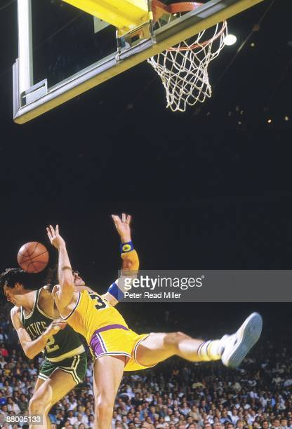 NBA Finals Los Angeles Lakers Kurt Rambis in action taking foul from Boston Celtics Kevin McHale during breakaway layup attempt Game 4 Inglewood CA...