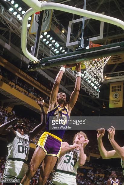 NBA Finals Los Angeles Lakers Lakers Kareem AbdulJabbar in action vs Boston Celtics Larry Bird at Boston Garden Game 5 Boston MA CREDIT Jerry Wachter