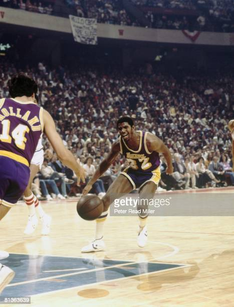 Basketball NBA finals Los Angeles Lakers Magic Johnson in action against the Philadelphia 76ers during Game 6 on May 16 1980 at the Spectrum in...