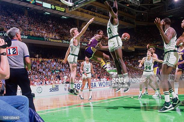 NBA Finals Los Angeles Lakers Magic Johnson in action vs Boston Celtics Larry Bird Game 7 Boston MA 6/9/1984 CREDIT Carl Skalak