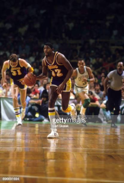 NBA Finals Los Angeles Lakers Magic Johnson in action dribble vs Boston Celtics Game 1 Cover Boston MA CREDIT Carl Skalak