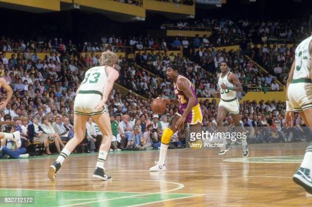 NBA Finals Los Angeles Lakers Magic Johnson in action vs Boston Celtics at Boston Garden Game 1 Boston MA CREDIT Jerry Wachter