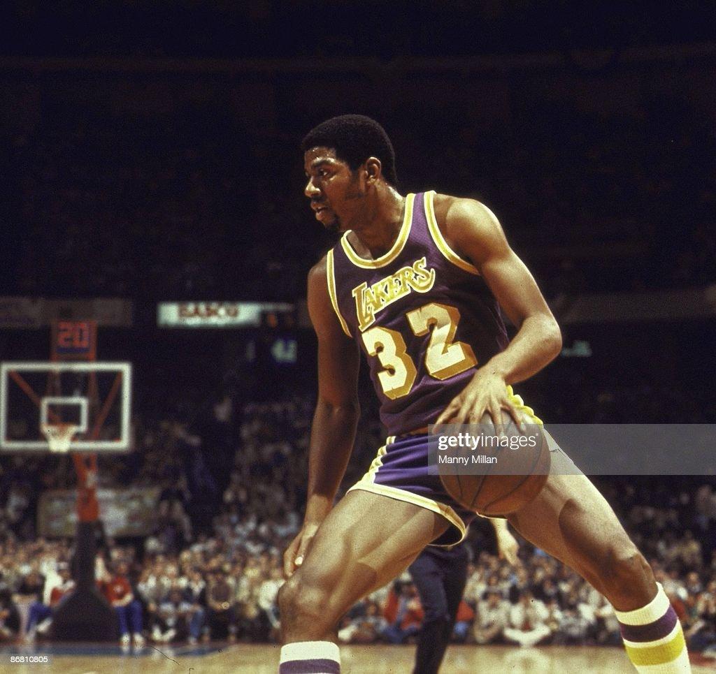 NBA Finals Los Angeles Lakers Magic Johnson in action vs Philadelphia 76ers Game 3 Philadelphia PA 5/10/1980 CREDIT Manny Millan