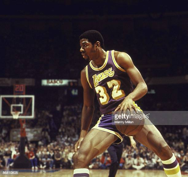 NBA Finals Los Angeles Lakers Magic Johnson in action vs Philadelphia 76ers Game 3 Philadelphia PA 5/10/1980 CREDIT Manny Millan