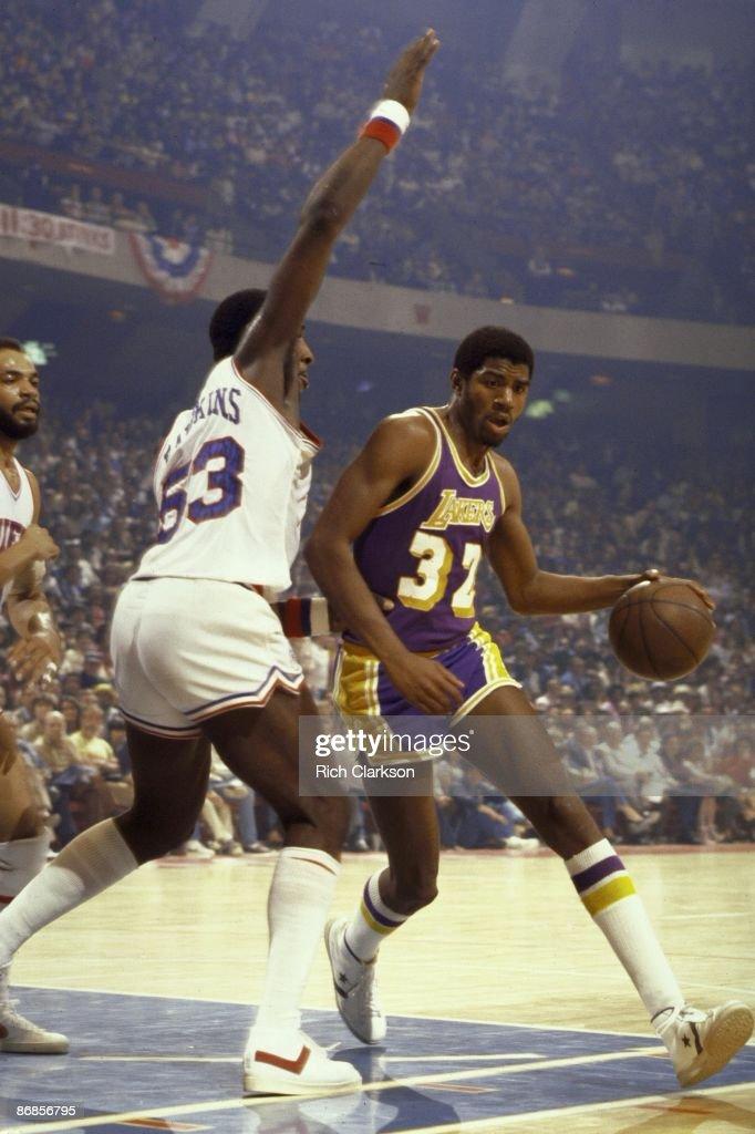 NBA Finals Los Angeles Lakers Magic Johnson in action vs Philadelphia 76ers vs Darryl Dawkins Game 4 Philadelphia PA 5/11/1980 CREDIT Rich Clarkson