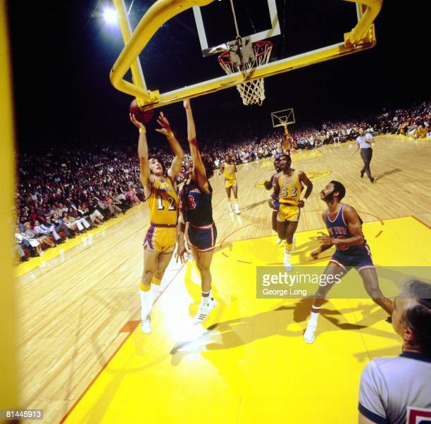 Basketball NBA Finals Los Angeles Lakers Pat Riley in action taking layup vs New York Knicks Phil Jackson Inglewood CA 4/26/19724/30/1972