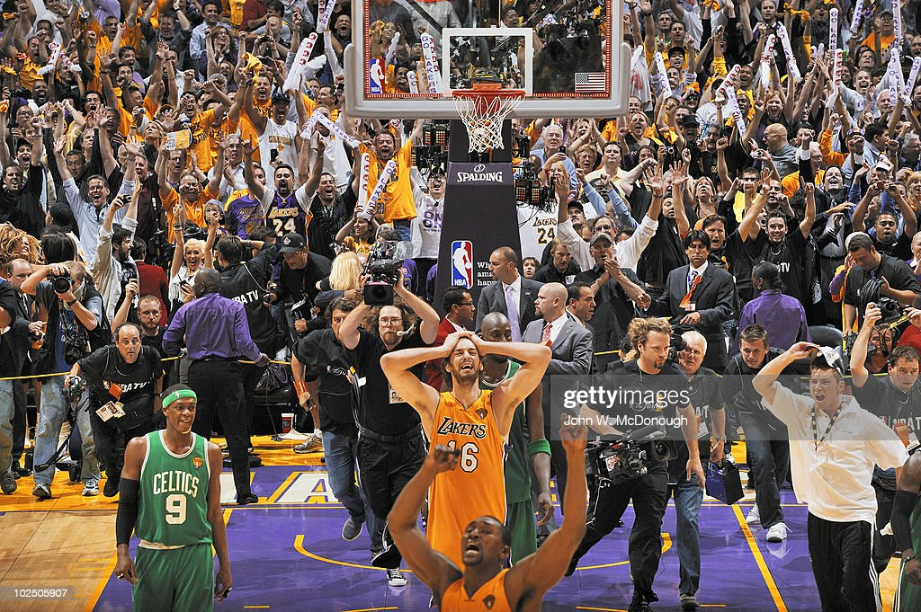 Los Angeles Lakers Pau Gasol (16) and Ron Artest (37) victorious after winning Game 7 and championship vs Boston Celtics. Los Angeles, CA 6/17/2010