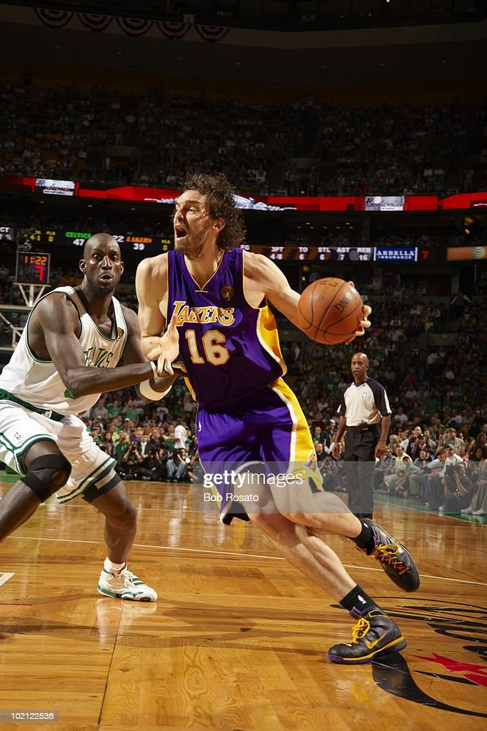 Los Angeles Lakers Pau Gasol (16) in action vs Boston Celtics. Game 5. Boston, MA 6/13/2010