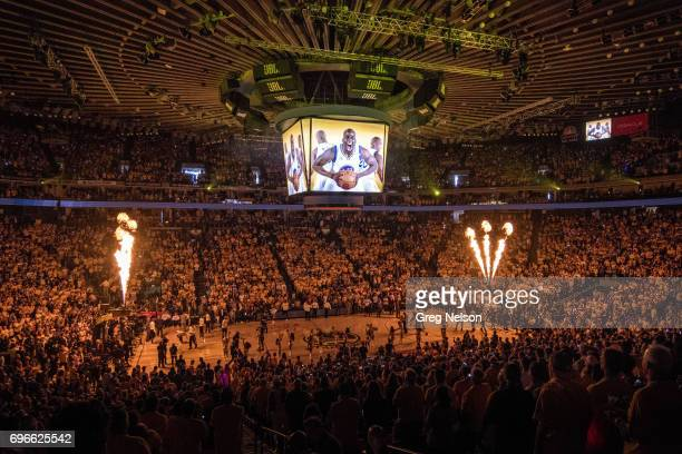 NBA Finals Overall view of court and arena during player introductions before Golden State Warriors vs Cleveland Cavaliers Game 2 at Oracle Arena...