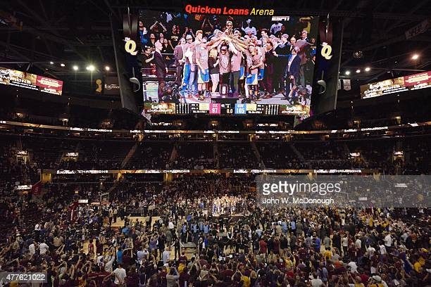 NBA Finals Overall view of scoreboard showing Golden State Warriors players victorious after winning series vs Cleveland Cavaliers at Quicken Loans...