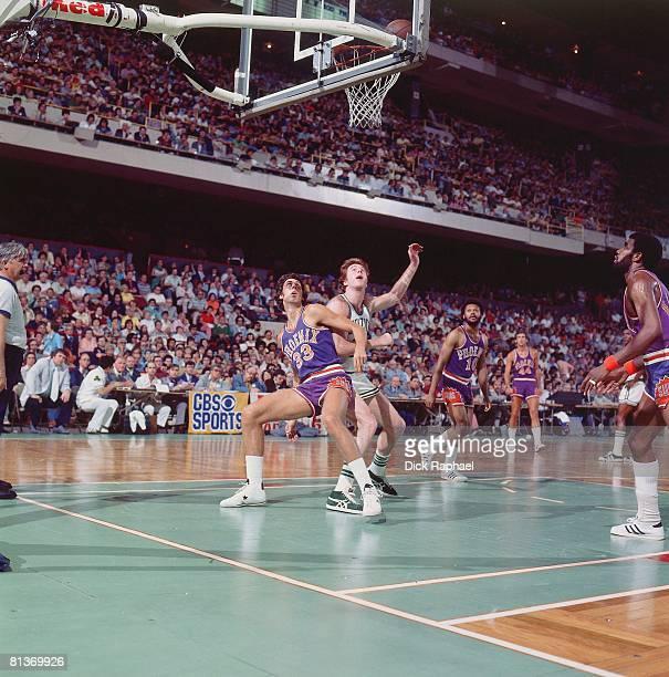 Basketball NBA Finals Phoenix Suns Alvan Adams in action boxing out vs Boston Celtics Dave Cowens Game 5 Boston MA 6/4/1976